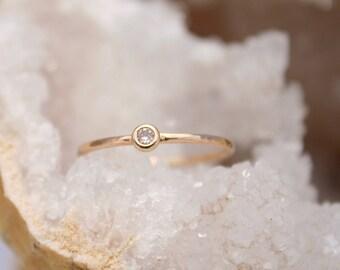 petite champagne diamond ring, recycled gold stacking ring,  Rachel Wilder Handmade Jewelery