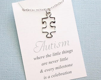 Autism Awareness  | Puzzle Necklace, Autism Mom, Asperger Syndrome, Autism Teacher Gift, Autism Awareness, Puzzle Piece, Mom Jewelry | A01