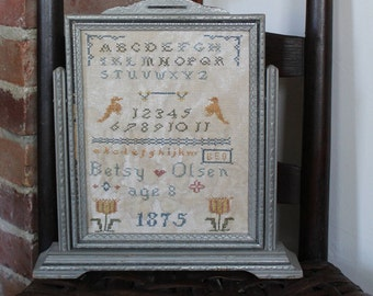 Early Style Antique Reproduction*ORIGINAL*One-Of-A-Kind*Primitive Sampler*Betsy Olsen*1875*Antique Frame*Original Glass*Fitch Hill Prims