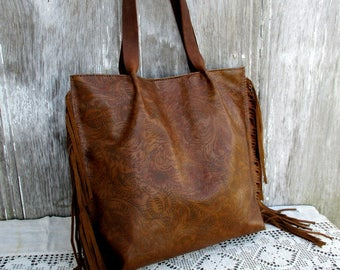 Brown Leather Fringe Tote Bag in Embossed Leather by Stacy Leigh
