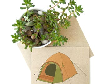 Tent card (no.2) camping / holiday / vacation illustrated card / eco friendly recycled kraft card