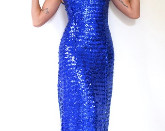 Vintage 80s 90s Blue Sequined Off the Shoulder Fishtail Evening Gown (size xs, small)