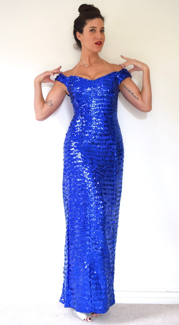 SPRING SALE/ 20% off Vintage 80s 90s Blue Sequined Off the Shoulder Fishtail Evening Gown (size xs, small)