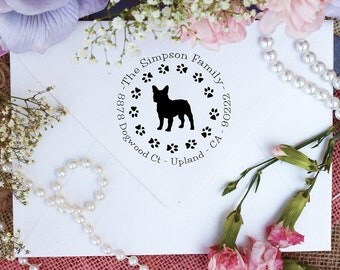 French Bull Dog Dog Stamp, Frenchie Lover Self Inking Custom Return Address Stamp, Cute Stamp for Frenchie Lover, Dog Stamp --10349-PI53-000