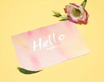 "Valentines day card ""Hello mon amour"" - Watercolor and typography card - Valentine digital download - Pink and yellow - INSTANT DOWNLOAD"