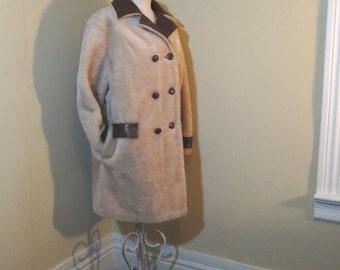 Vintage Camel Fur Coat vintage faux fur Coat 60s Tan fur Coat 60s Steampunk Fake Fur Coat 60s Vintage Brown Collar Coat 60s faux fur coat L