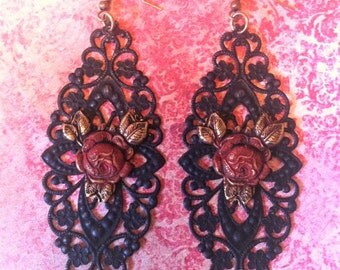 Shabby Chic Earrings~ Vintage Roses and Black Filigree Lace ~Bohemian Jewelry BOHO Style ~