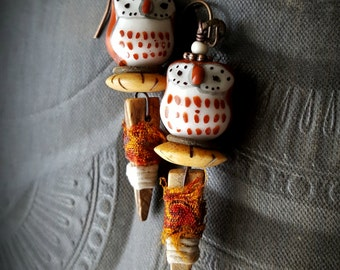 Owls, Owl Earrings, Barn Owl, Ceramic, Shell, Fiber, Wood, Rustic, Organic, Earthy, Animals, Wildlife, Birds,  Beaded Earrings
