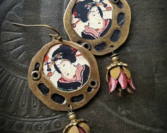 Tin Earrings, Geisha, Asian, Rustic, Organic, Primitive, Hoops, Brass Hoops, Vintage Flowers, Upcycled, Recycled, Beaded Earrings