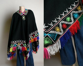 Vintage Fringe Poncho - 1970s Mexican Style Black Extra Large Wide Wool Poncho Cape Jacket - Rainbow Embroidery - Pointed Batwing Angel