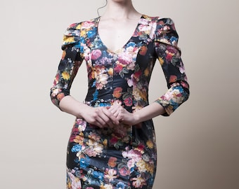 Floral Faux Leather Dress with 3/4 Sleeves-Small (Sample Sale)