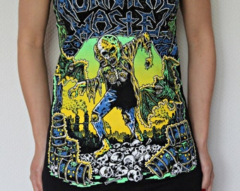 Municipal Waste shirt dress Thrash Metal clothing alternative apparel reconstructed altered band tee t-shirt rocker chic clothes neon