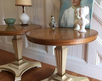 ROUND TABLE PAIR Midcentury Hollywood Regency c1950's Pedestal Base Heritage by Henredon Original Wood Top Painted Base Vintage Retro