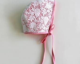 Pink Blush Woodland Lace Bonnet, Baby and Toddler sizes