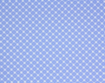 1970s Vintage Wallpaper - Laura Ashely Periwinkle and White Geometric