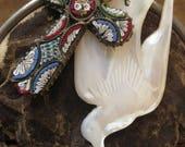 Harmony ~ micromosaic cross mop bird rosary Indian tribal summer necklace