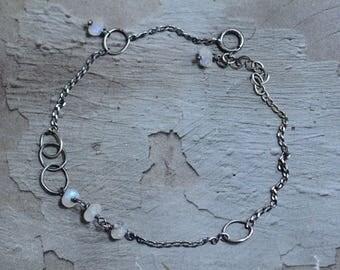 Sterling Silver Moonstone Bracelet - Oxidized Silver Circle Link Bracelet - Dainty Dark Silver Chain Bracelet - Simple Gemstone Bracelet