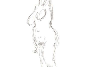 Reach - Gesture Drawing - Digital Download - Figure Study of Female Nude - Printable Art - Minimalist Line Drawing