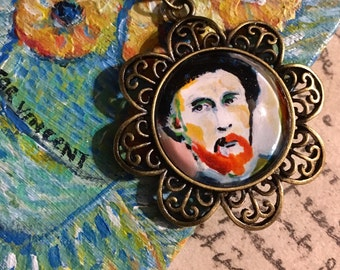 Portrait of van Gogh - Brass Art Necklace