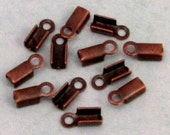 Fold Over Crimp Cord End With Loop, 2 MM, Antique Copper, 12 Pieces AC169