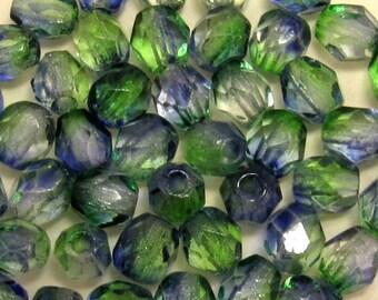Czech Glass Beads, 4mm Round, Fire Polished, Blueberry Green Tea, 50 Pc. C202