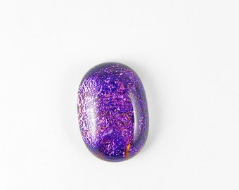 Dichroic Fused Glass Cabochon - Purple Pink - 1733 - 21mm x 14.5mm