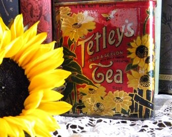 Vintage Tetley's Tea Tin Litho Container with Sunflowers and Bumble Bees Ceylon and India Tea Canister England