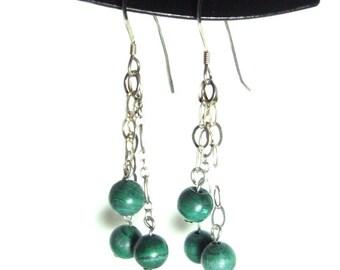 Malachite sterling silver dange earrings