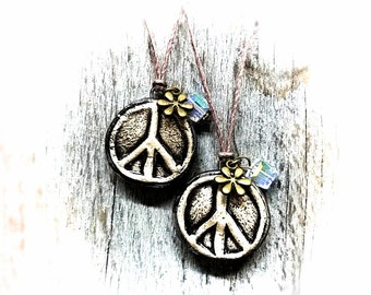 Essential Oil Diffuser Necklace Peace Sign Hippie Eco Friendly Hemp Necklace Aromatherapy Handmade Vessel Ceramic Jewelry Unique Gift Idea