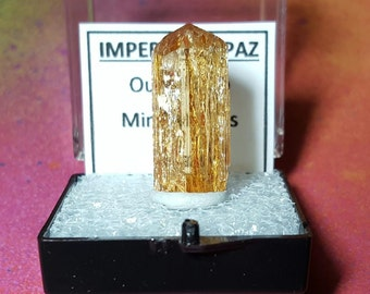 IMPERIAL TOPAZ 4.8 Gram Natural Sparkling Terminated Gemstone Crystal In Perky Specimen Box From Brazil