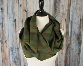 Olive Green Plaid Flannel Infinity Scarf - Winter Scarf - Womens Scarves