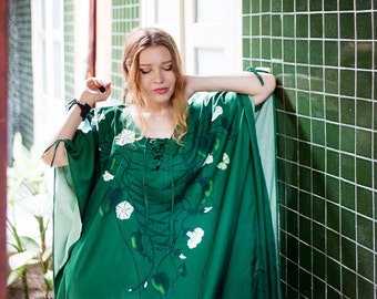 Green Kaftan Dress, Kimono Robe, beach Coverup, Bridal Kimono, Boho Dress, Plus Size Clothing, Fantasy Art