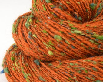 Handspun Yarn -  Spindle Spun Tweed Silk / Merino Yarn - Sport Art Yarn- 1.6oz, 172yd, 18WPI