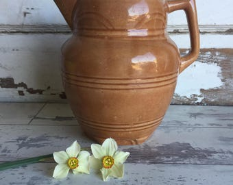 Vintage Yelloware Pottery Pitcher -Primitive Yellow Ware - Light Brown Glaze