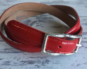 Vintage Belt - Brighton Red Patent Leather Silver Buckle Small - 32 inch