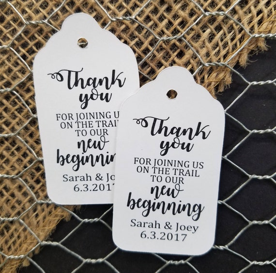 Thank you for joining us on our trail to a new Beginning favor tag MEDIUM Personalized Wedding Shower CHOOSE your amount