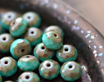 Turquoise Waters - Premium Czech Glass Beads, Opaque Turquoise, Picasso Finish, Facet Firepolish Rondelles 9x7mm - Pc 10
