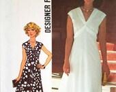 Vintage Empire Waist Maxi Dress Pattern Simplicity 7538 Bust 36 FF Goddess Dress V Neckline High Waist Dress