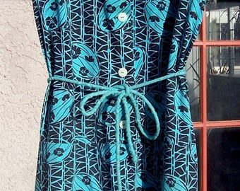 Vintage Bike Dress/Shorts Combo Cotton Mid Century Turquoise