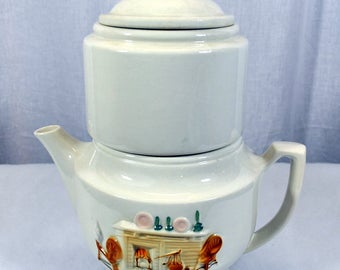Vintage Pottery Porcelier Coffee / Tea Pot Raised Hearth Fireplace Design - Vitreous Tea Pot / Drip Maker - China Fireplace - 4 Pieces