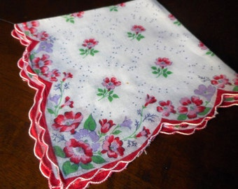 VINTAGE Red & Cream Yellow Flower Scallop Linen Handkerchief