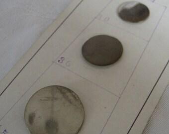 Set of VINTAGE Waterbury Silver Metal Salesman Sample Card BUTTONS