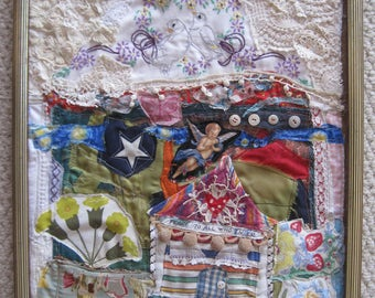 house of PEACE - Fabric Collage Folk Art - Recycled Vintage Materials - Textile Assemblage Wall Quilt- Cottage Chic - my bonny random scraps
