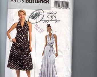 Misses Sewing Pattern Butterick B5175 5175 Misses Suzi Chin Surplice Halter Neckline Dress Size 16 18 20 22 24 Bust 38 40 42 44 46 UNCUT