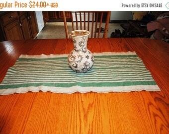 Sale Rustic Linen Table Runner Table Linens Narrow Striped Green Beige Prewashed Heavy Linen