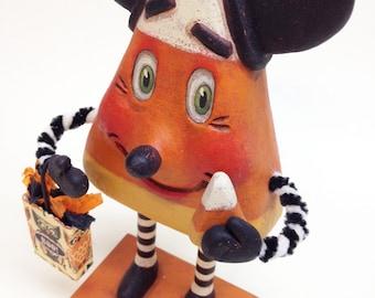 Kandy Korn Mickey – EHAG - Hand sculpted, OOAK, original paper mâché, Halloween, mouse, candy corn trick or treat by artist Alycia Matthews
