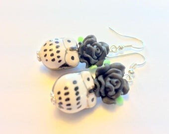 Black and White Owls and Roses Handmade Earrings