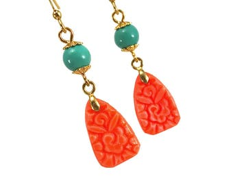 Floral art deco earrings in orange coral with turquoise accents