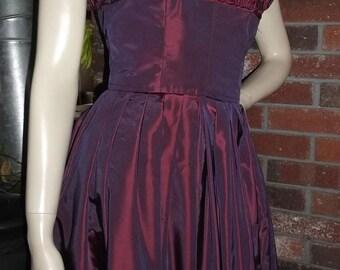 70s S Victor Costa Gown Iridescent Plum Taffeta Evening Dress Seashell Ruffle Shelf Bust 1970s Asymmetrical Hem
