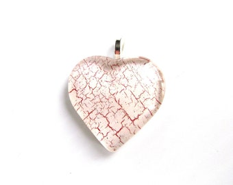 Crackled Red and White Heart Pendant